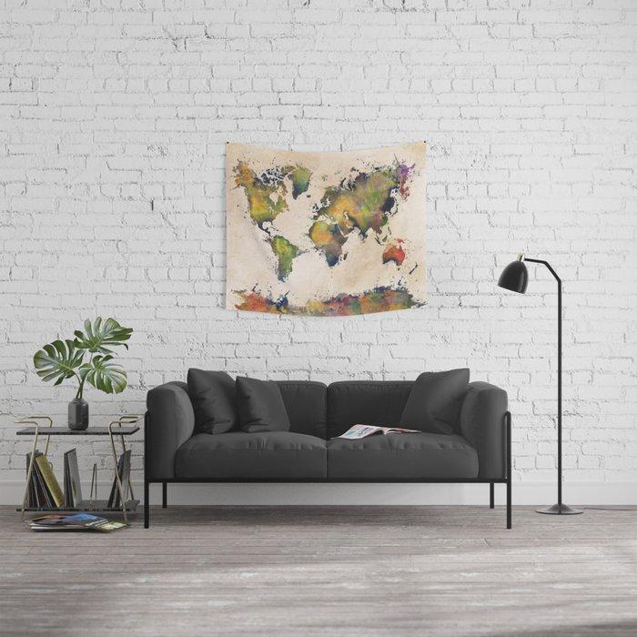 World Map green splash Wall Tapestry