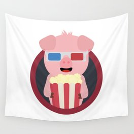 Cinema Pig with Popcorn Wall Tapestry