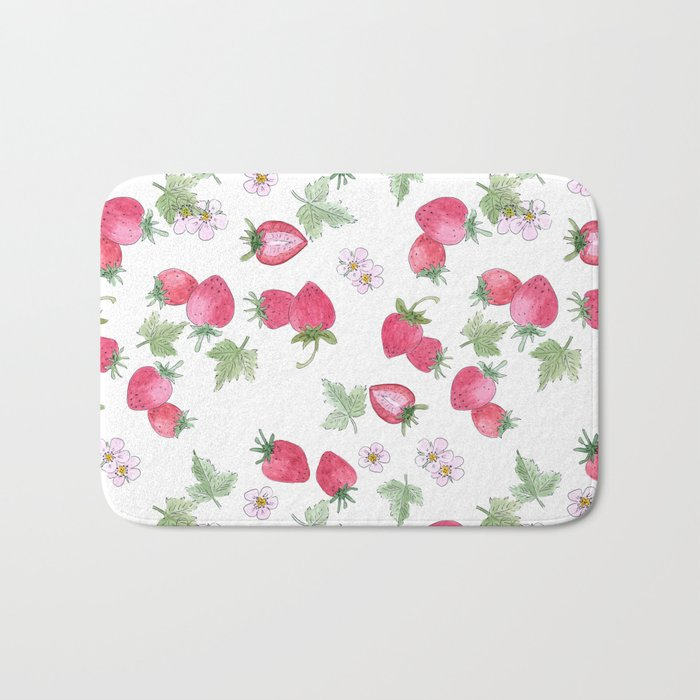 Watercolor . Strawberry on a White background . Bath Mat