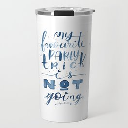 Party Trick Watercolor Lettering Introvert Quote Travel Mug