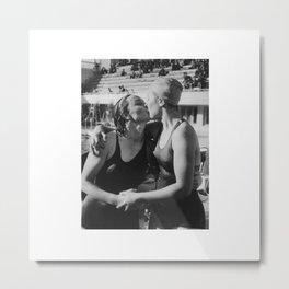 Swimmers Kissing Metal Print