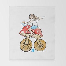 Mushroom Bike Throw Blanket