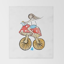 Mushroom Bike Throw Blanket