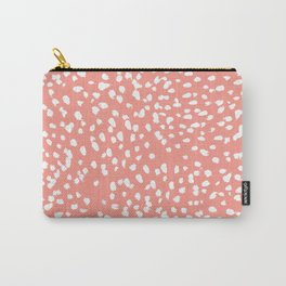 Coral and white minimal painted dots pattern dotty print decor for minimal home office dorm college Carry-All Pouch