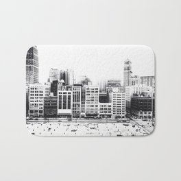 Woodward Avenue Downtown Detroit Black and White Print Bath Mat