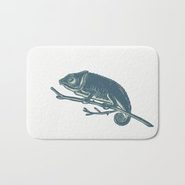 Chameleon On Branch Scratchboard Bath Mat