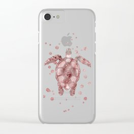 Glamour Turtle Rose Gold Clear iPhone Case