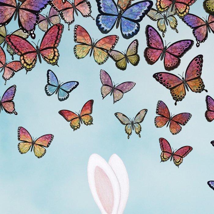 bunnies, flowers, and butterflies Leggings