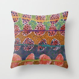 Red Round And Dotted Forms  Throw Pillow