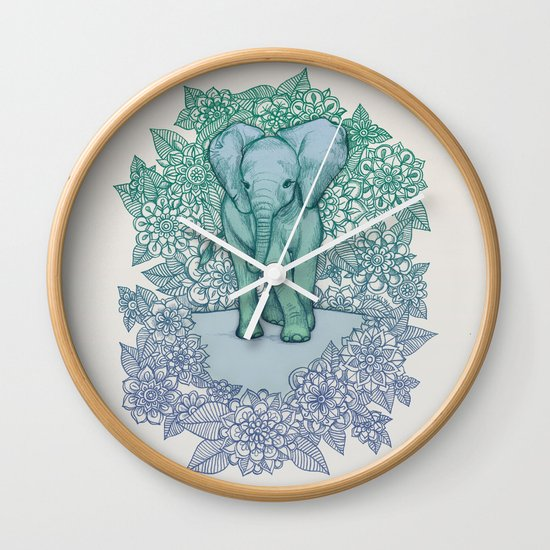 Emerald Elephant in the Lilac Evening Wall Clock