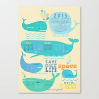 calender Canvas Prints featuring Wale Calender 2015 by Elisandra