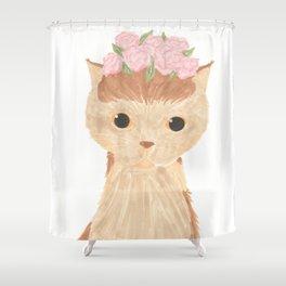 Flower Kitty Shower Curtain