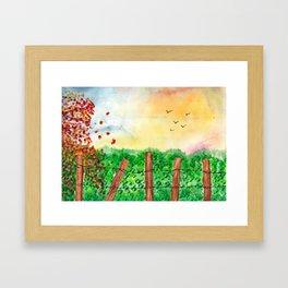 Sunset Landscape Watercolor Framed Art Print