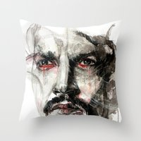 johnny depp Throw Pillows featuring Johnny Depp by KlarEm