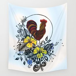 Pen and ink drawing, Rooster art, colorful art, watercolor and digital art Wall Tapestry