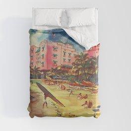 Hawaii's Famous Waikiki Beach landscape painting Duvet Cover