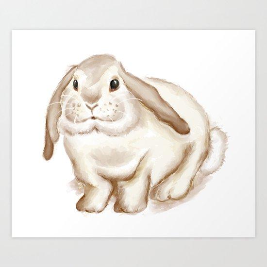 Watercolor Bunny Art Print