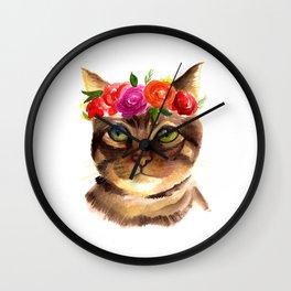 FLORAL KITTEN Wall Clock