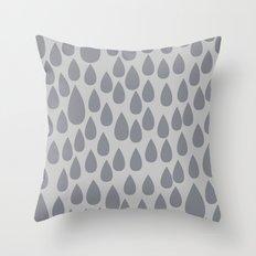 Grey drops Throw Pillow