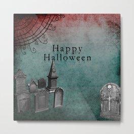 Creepy Grunge Graveyard Halloween Metal Print
