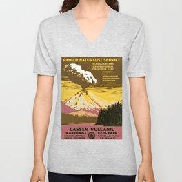 Vintage Lassen Volcanic National Park Unisex V-Neck