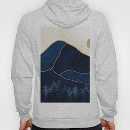 Mount Hood // Sapphire Blue Abstract Dream Oregon Gold Mountain Wilderness Forest Sun Landscape Hoody