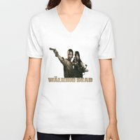 the walking dead V-neck T-shirts featuring Walking Dead by store2u