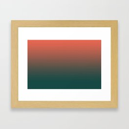 Pantone Living Coral & Forest Biome Green Gradient Ombre Blend, Soft Horizontal Line Framed Art Print