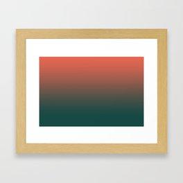 Pantone Living Coral & Forest Biome Green Gradient Ombre Blend, Soft Horizontal Line Framed Art Print
