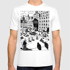 Pipien Molestus in the city White SMALL Mens Fitted Tee
