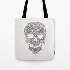 Grey Skull Illustration Tote Bag