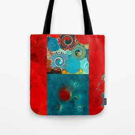 Teal and Red Swirls Tote Bag