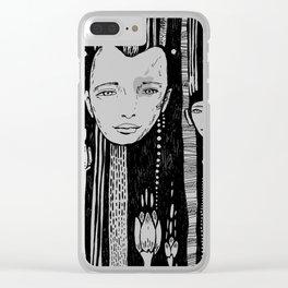doodle face, black pen Clear iPhone Case