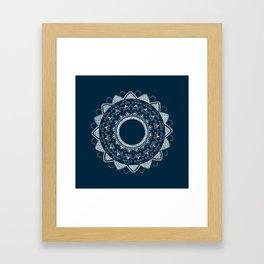 Precious white mandala on blue Framed Art Print