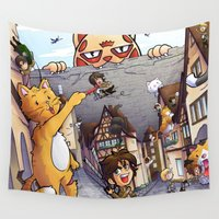 attack on titan Wall Tapestries featuring Attack on Kitten - Attack on Titan by Cute-Loot