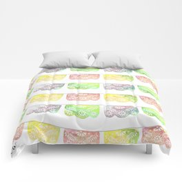 Vibrant Watercolor Papel Picado Comforters
