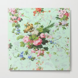 Antique romantic vintage 1800s Victorian floral shabby rose flowers pattern aqua mint hipster print Metal Print
