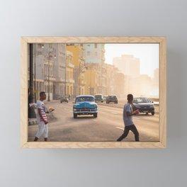 Classic American car on the Malecon in Havana | Travel photography Cuba Framed Mini Art Print