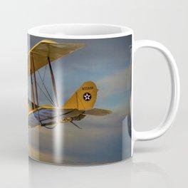Yellow Biplane with Sunset Cloudy Sky Coffee Mug