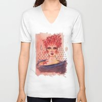 coral V-neck T-shirts featuring Coral by Marti Ferrer