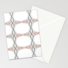 Simple Pastel Coral and Grey Diamond Geometric Stationery Cards