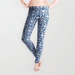 White Blue Marrakesh Tails Decoration Classic Bath Art Tails Talavera Catalina Royal Blue and White Leggings