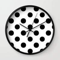 polka Wall Clocks featuring Polka Dots (Black/White) by 10813 Apparel