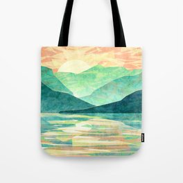 Spring Sunset over Emerald Mountain Landscape Painting Tote Bag