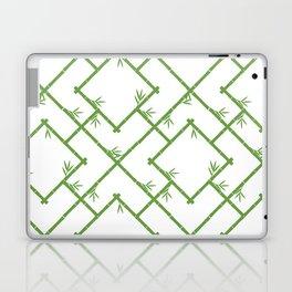Bamboo Chinoiserie Lattice in White + Green Laptop & iPad Skin