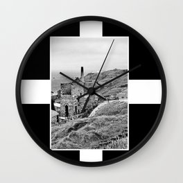 Cornish Tin Mine And Flag Wall Clock