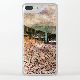 Sea Defence Groynes - watercolour effect. Clear iPhone Case