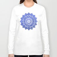 navy Long Sleeve T-shirts featuring ókshirahm sky mandala by Peter Patrick Barreda