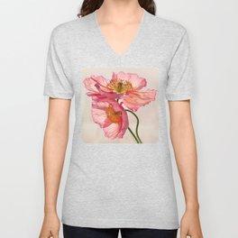 Like Light through Silk - peach / pink translucent poppy floral Unisex V-Neck
