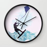 les mis Wall Clocks featuring [mis]interpreting kiteboarding by crayzeestuff